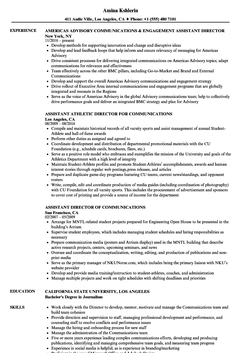 communications assistant director resume samples
