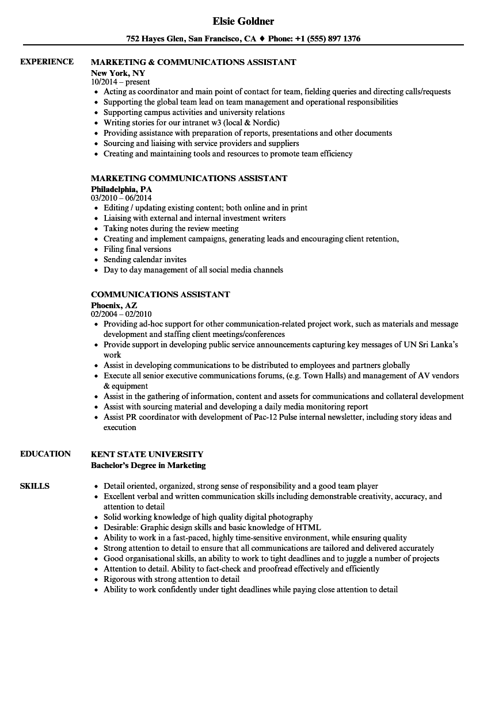Communications Assistant Resume Samples | Velvet Jobs