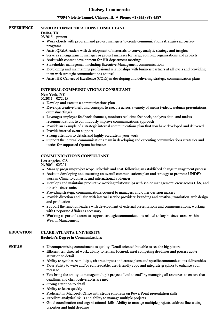 Communications Consultant Resume Samples | Velvet Jobs
