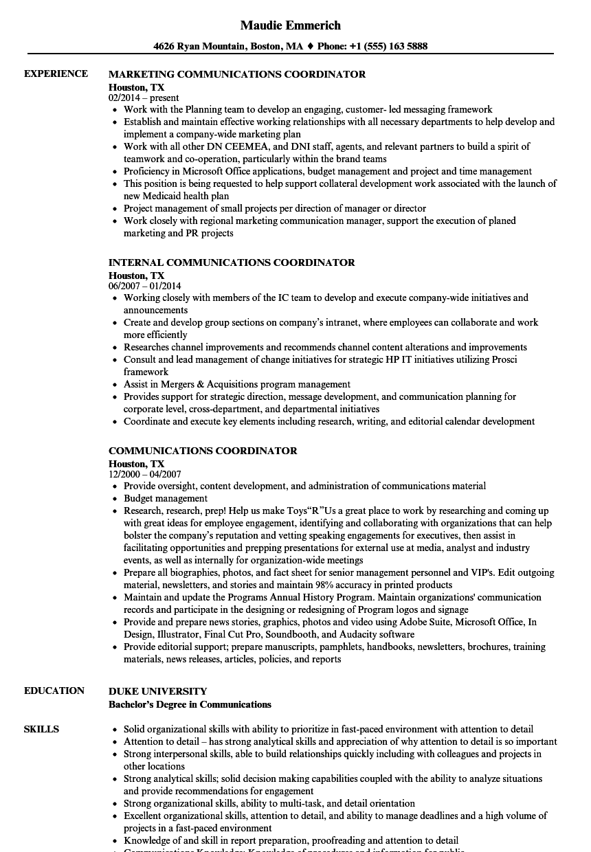 Communications Coordinator Resume Samples Velvet Jobs