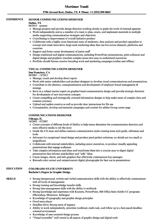 Communications Designer Resume Samples | Velvet Jobs