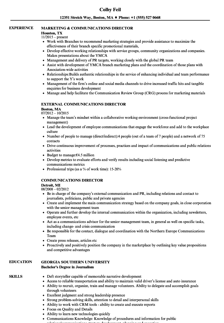 communications director resume samples