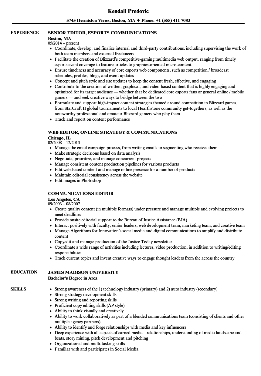 communications editor resume samples