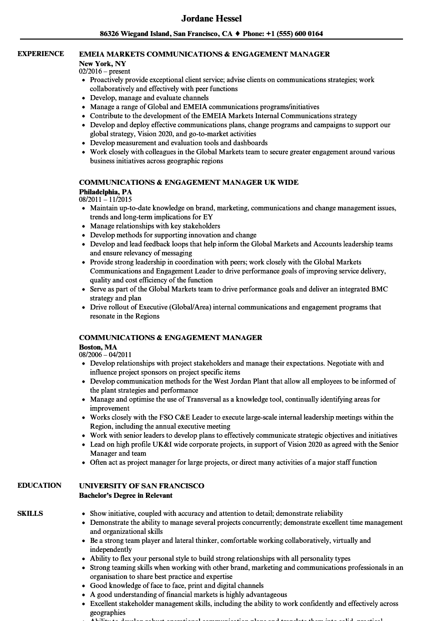 Communications & Engagement Manager Resume Samples | Velvet Jobs