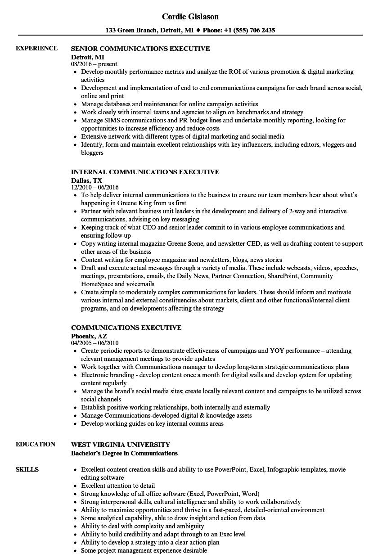 Communications Executive Resume Samples   Velvet Jobs