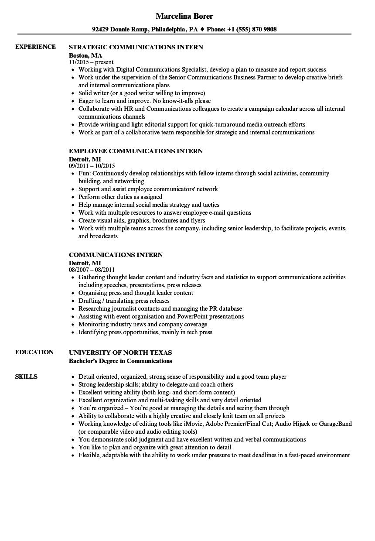 Communications Intern Resume Samples | Velvet Jobs