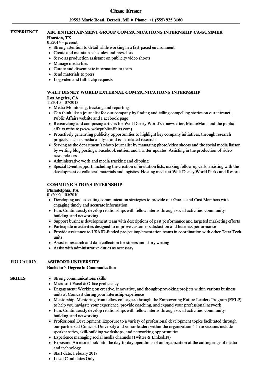 communications internship resume samples