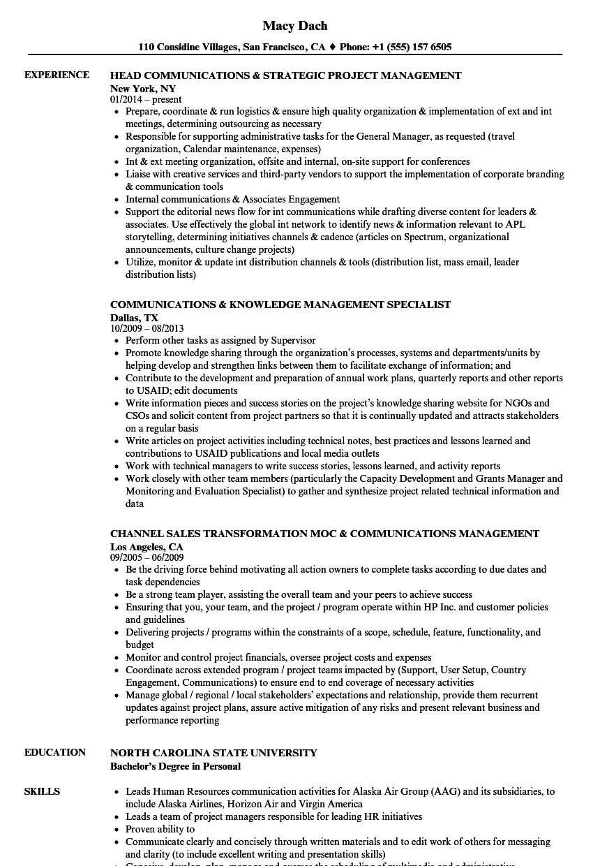download communications management resume sample as image file - Project Management Skills In Resume