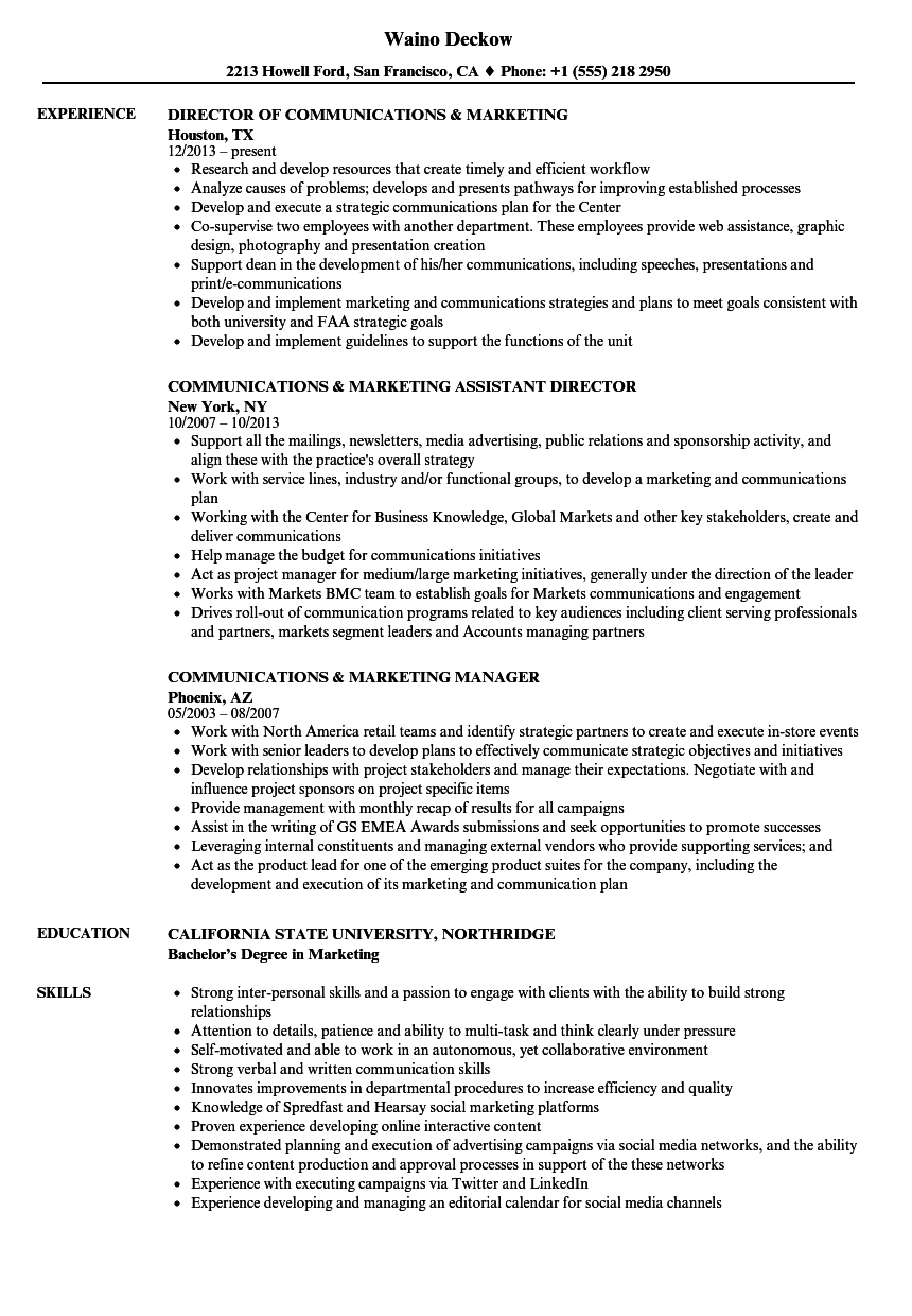 communications  u0026 marketing resume samples
