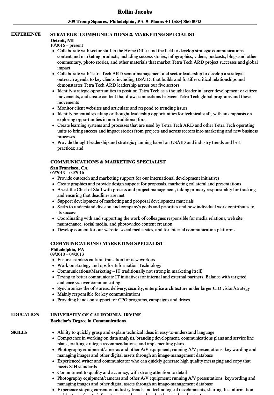 Communications & Marketing Specialist Resume Samples | Velvet Jobs