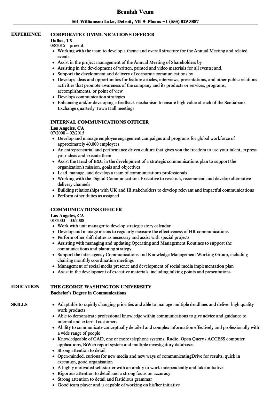 Download Communications Officer Resume Sample As Image File