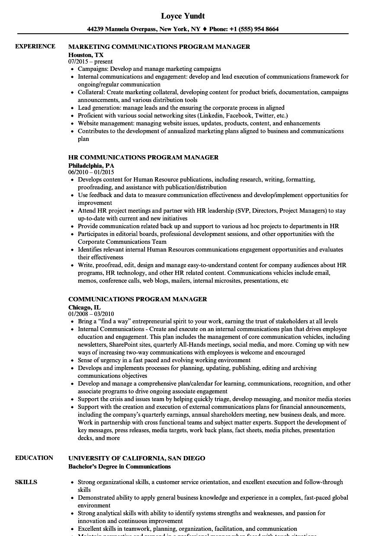 Communications Program Manager Resume Samples | Velvet Jobs