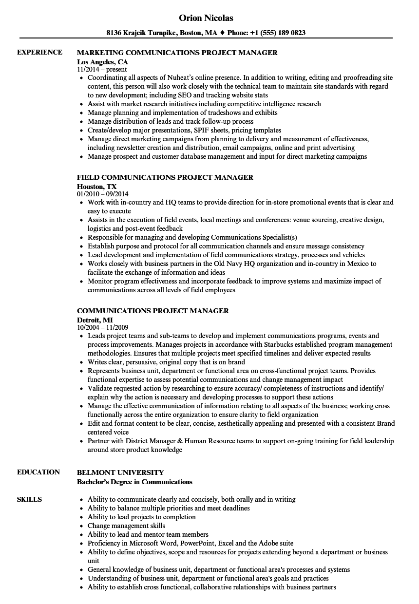 Communications Project Manager Resume Samples | Velvet Jobs