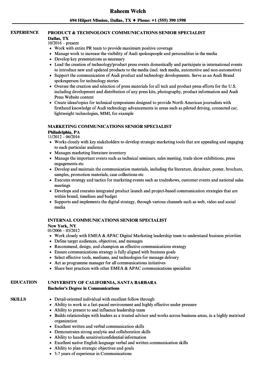 Communications Senior Specialist Resume Samples Velvet Jobs