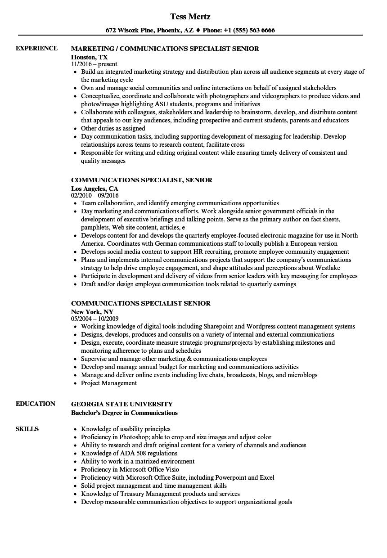 communications specialist  senior resume samples