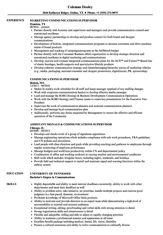 Communications Supervisor Resume Samples | Velvet Jobs