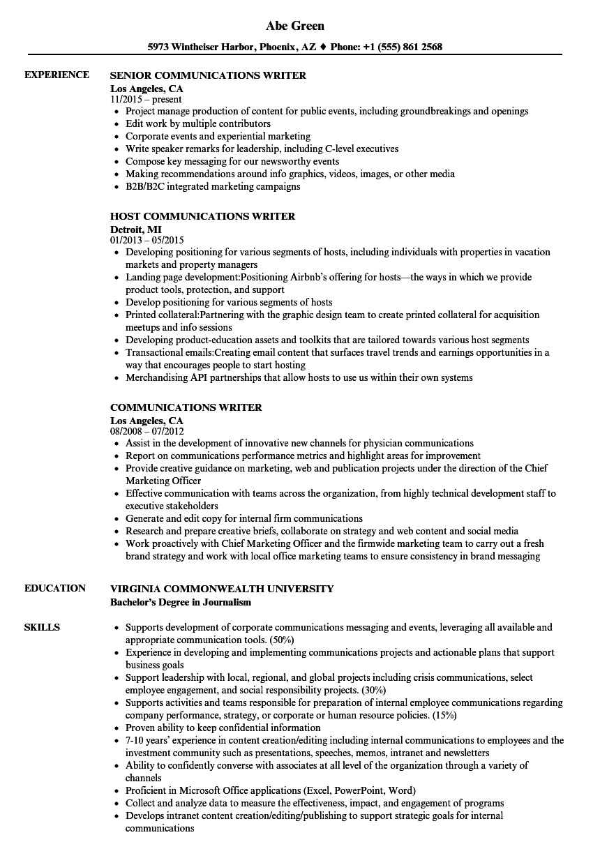 Communications Writer Resume Samples | Velvet Jobs