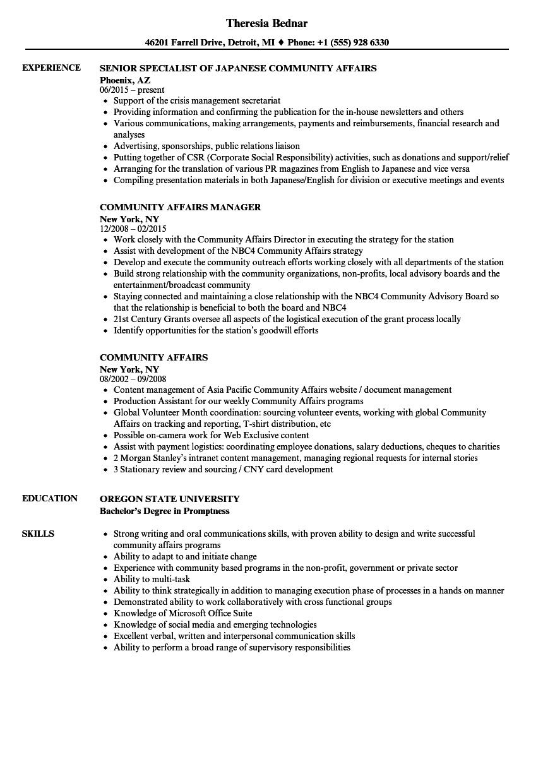 Community Affairs Resume Samples | Velvet Jobs