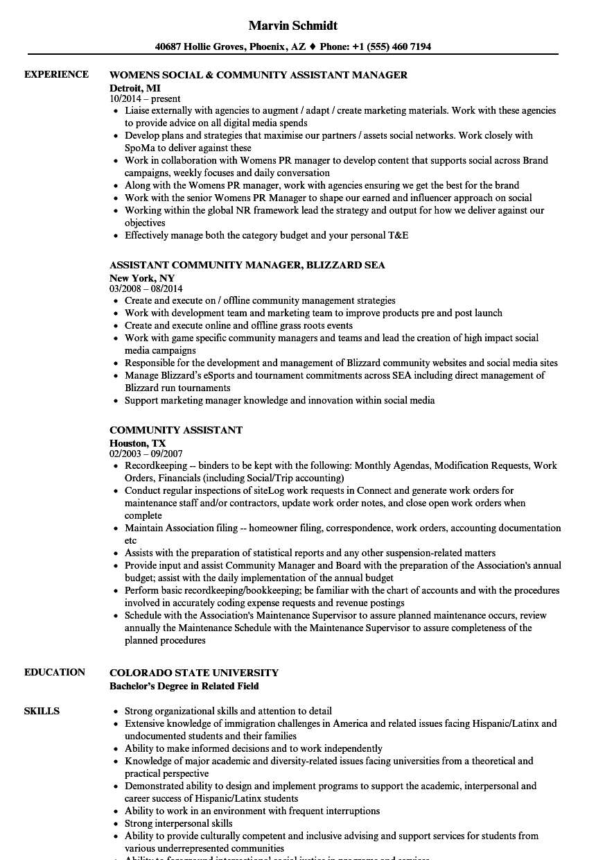 community assistant resume samples