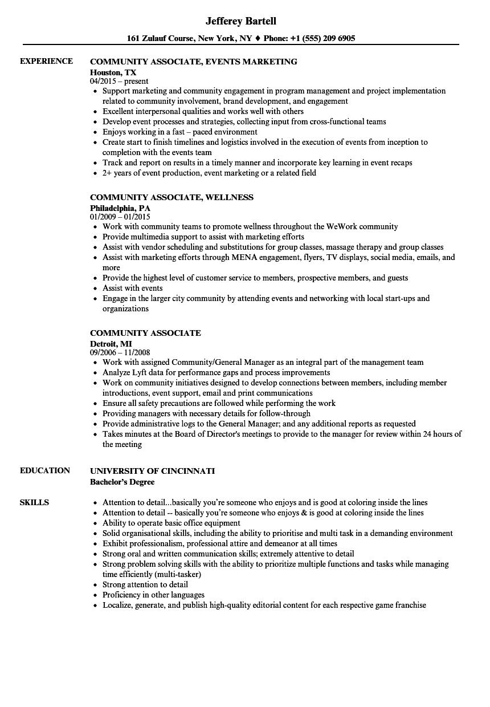 community associate resume samples