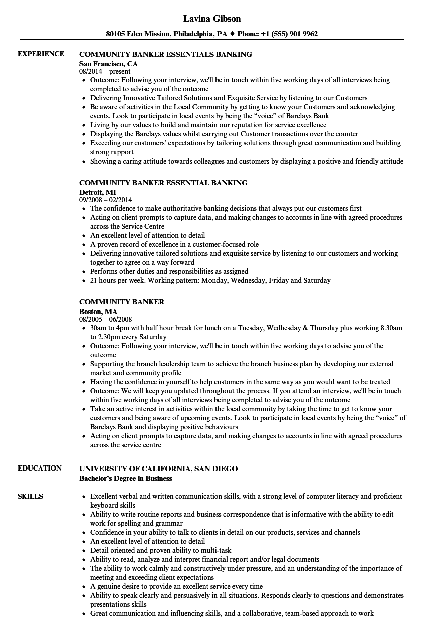 download community banker resume sample as image file - Banking Resume Examples