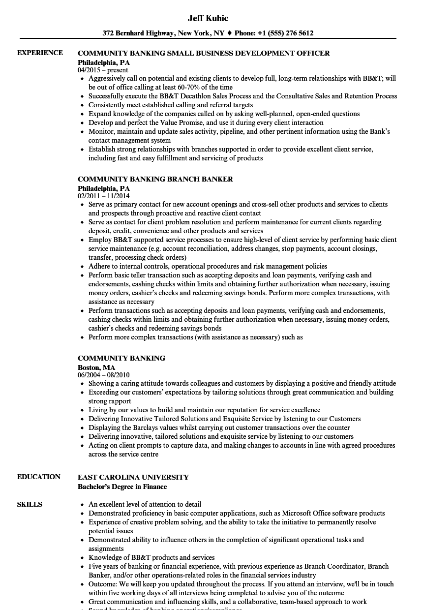 Community Banking Resume Samples Velvet Jobs
