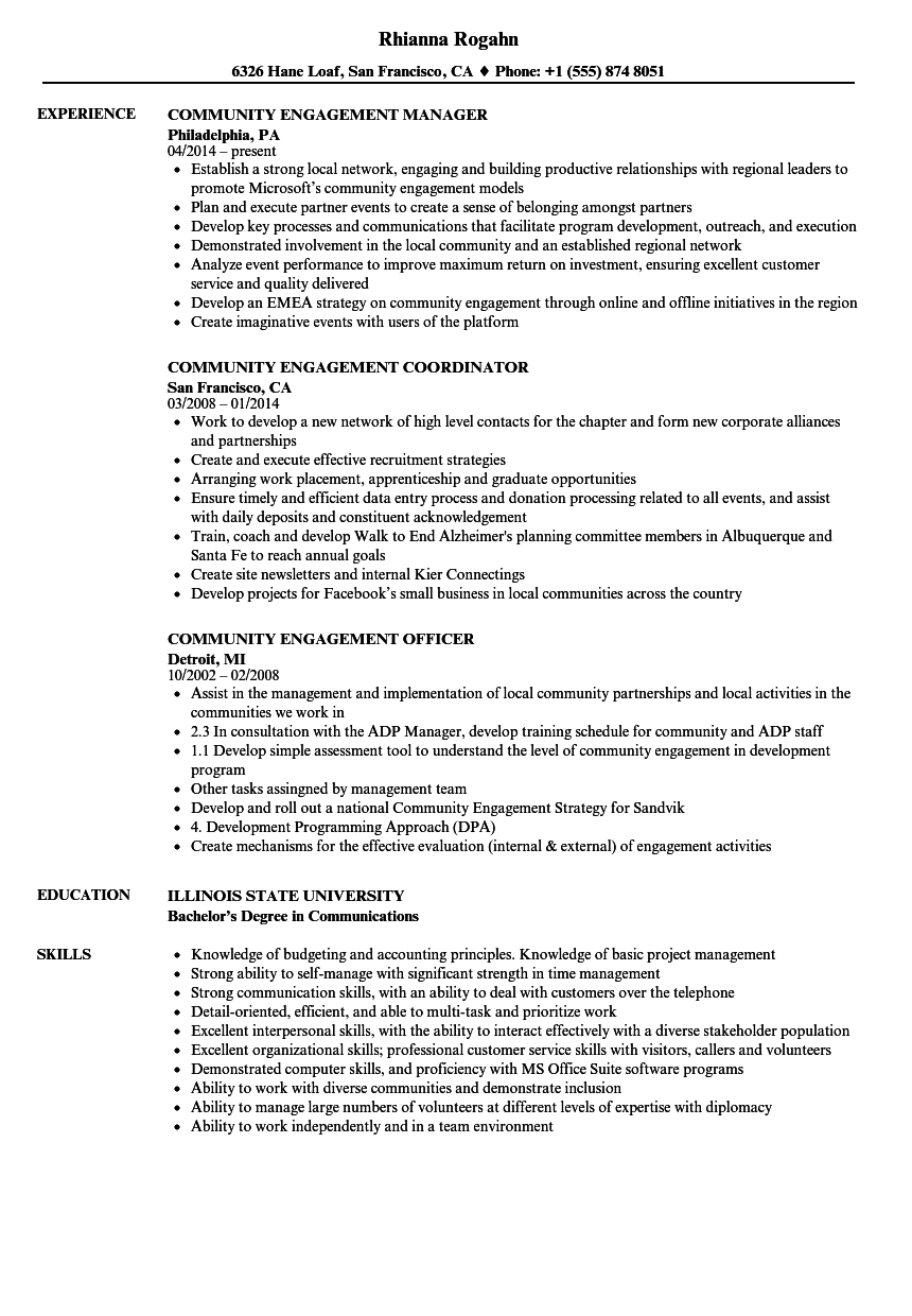 sample resume for community outreach manager september 2020
