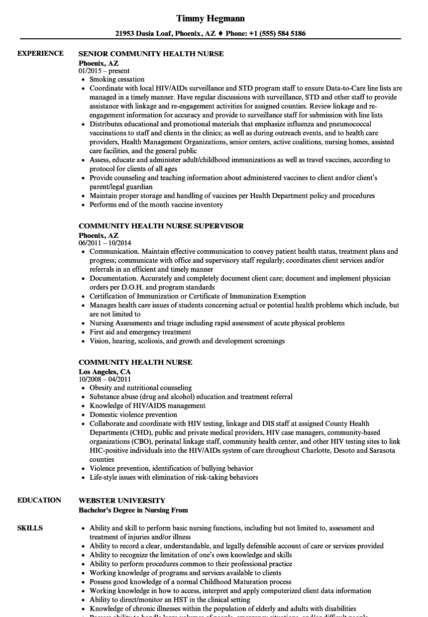 community health nurse resume samples