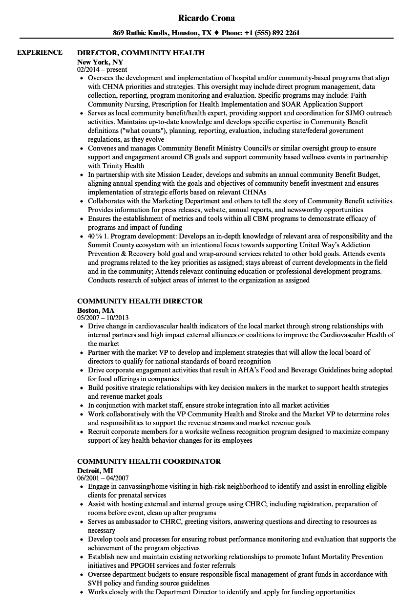 Community Health Resume Samples | Velvet Jobs