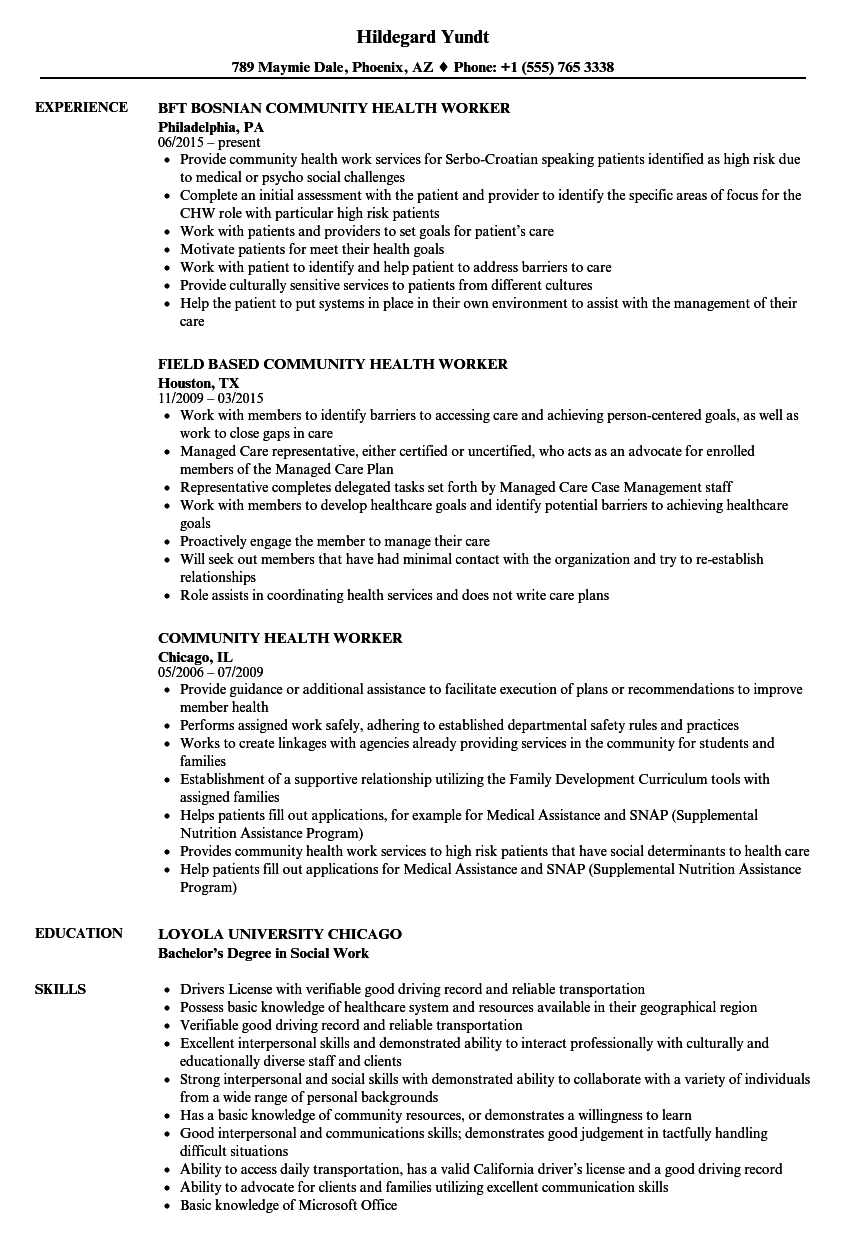 Community Health Worker Resume Samples Velvet Jobs
