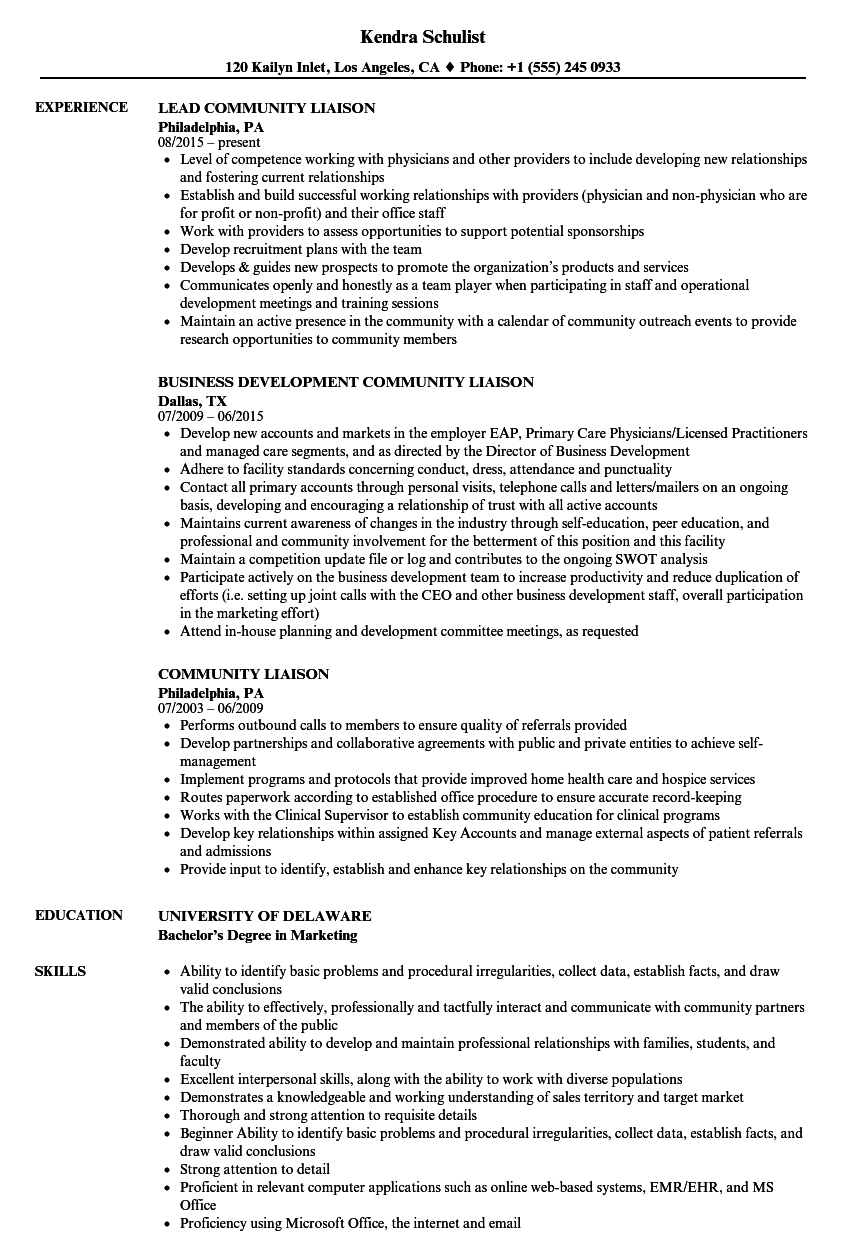 Community Liaison Resume Samples Velvet Jobs