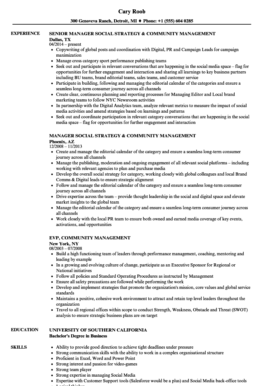 Community Management Resume Samples Velvet Jobs