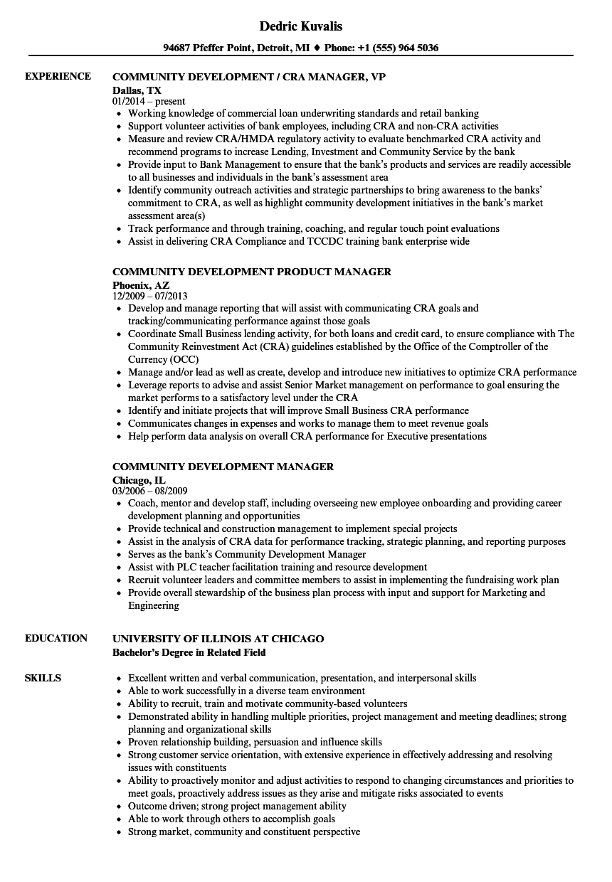 community manager  community development resume samples