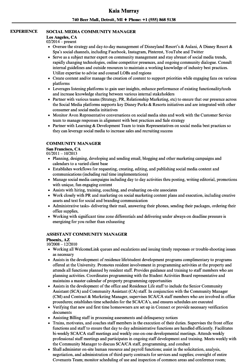 community manager resume samples velvet jobs