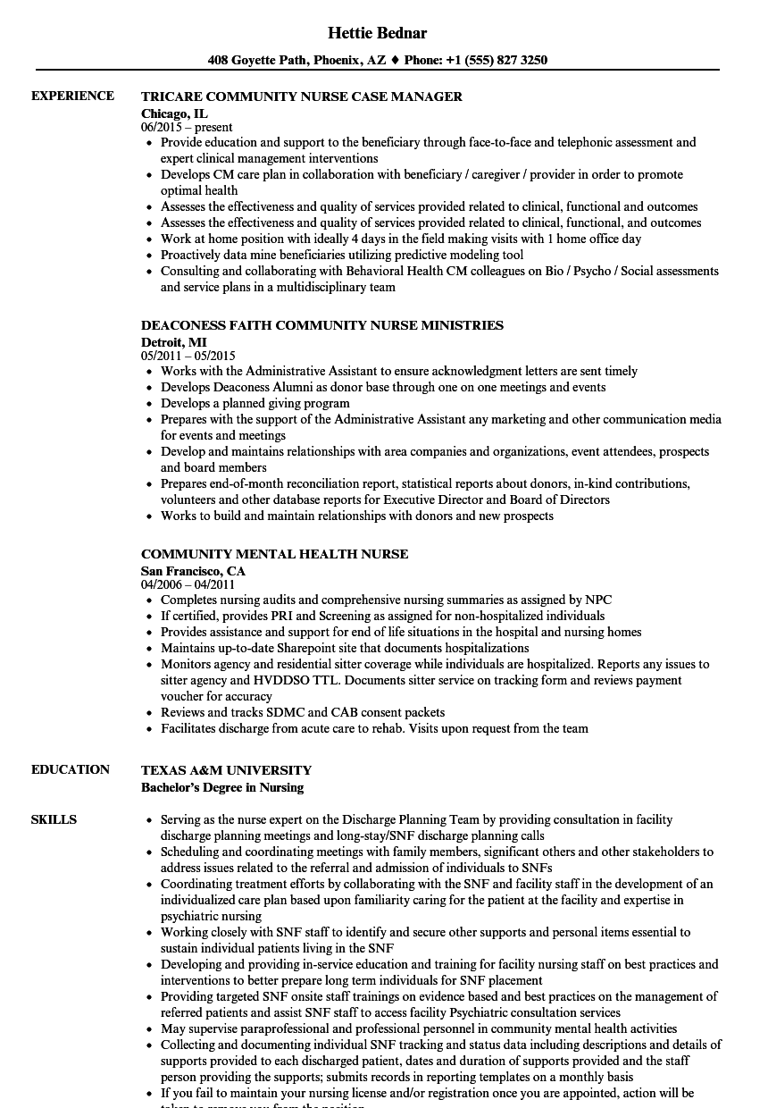 Community Nurse Resume Samples Velvet Jobs