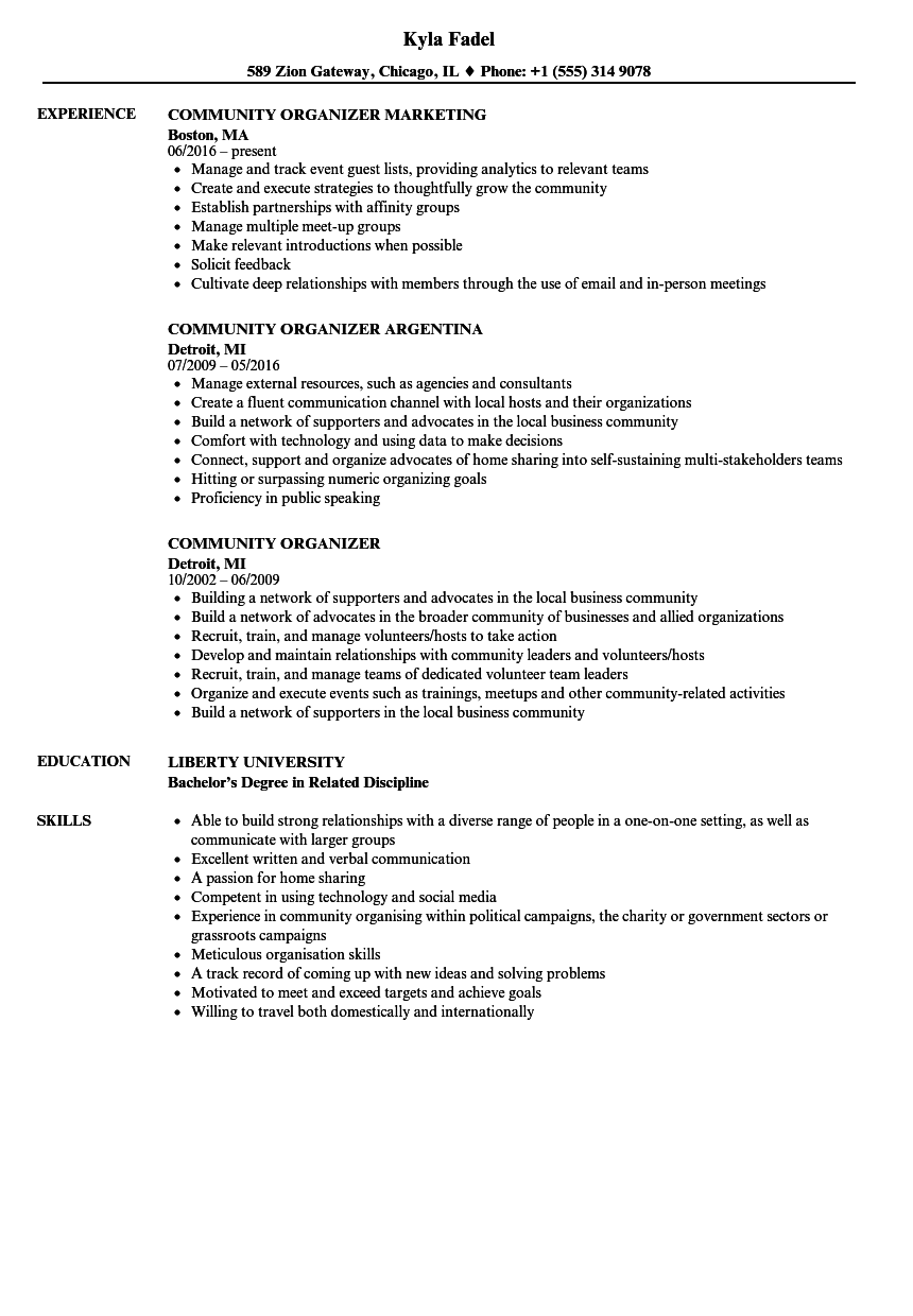 community organizer resume samples