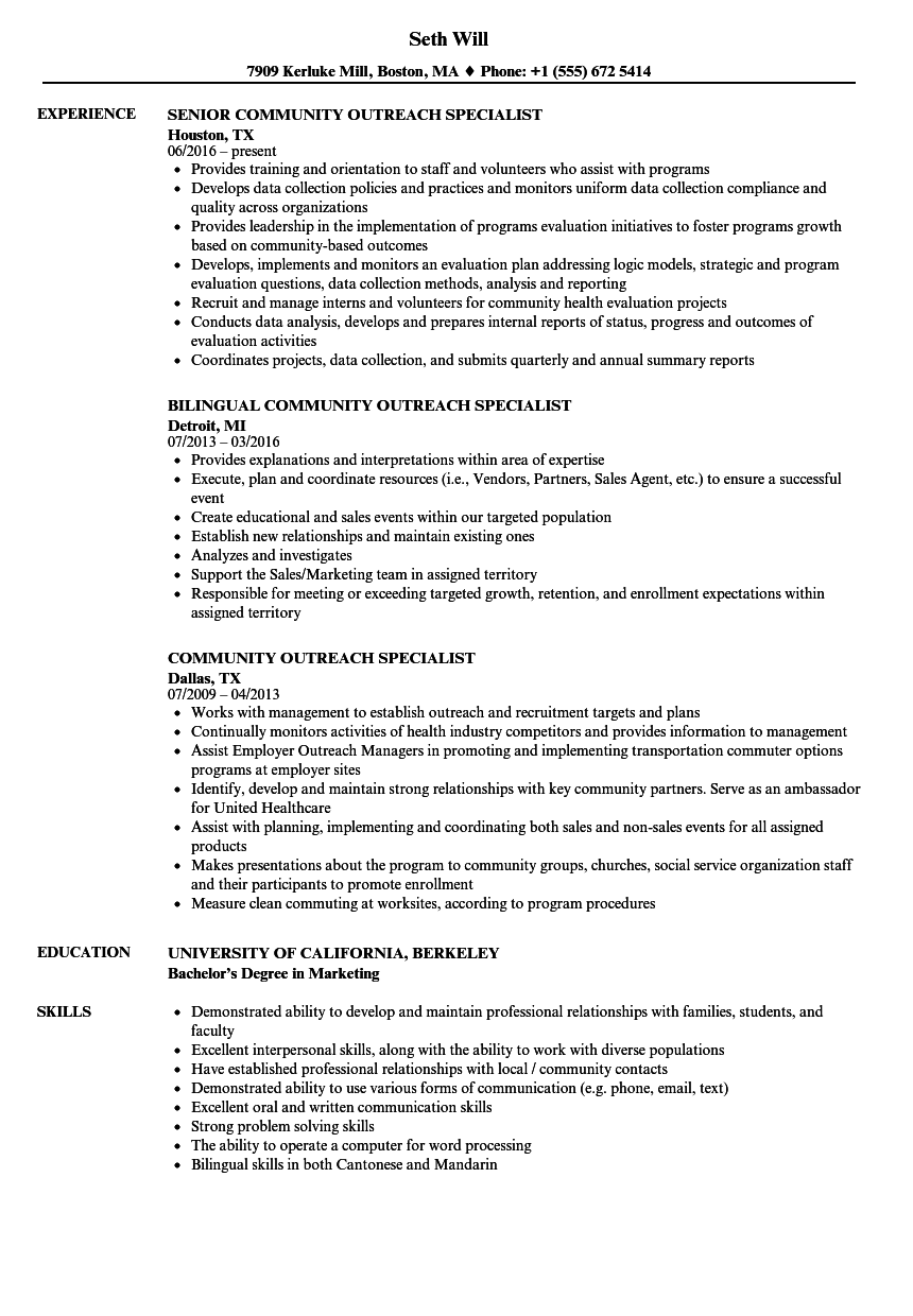 Download Community Outreach Specialist Resume Sample as Image file