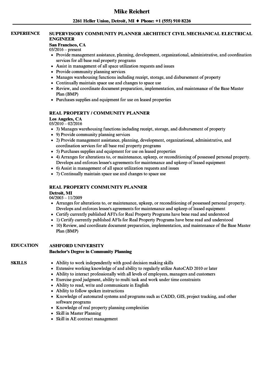 community planner resume samples