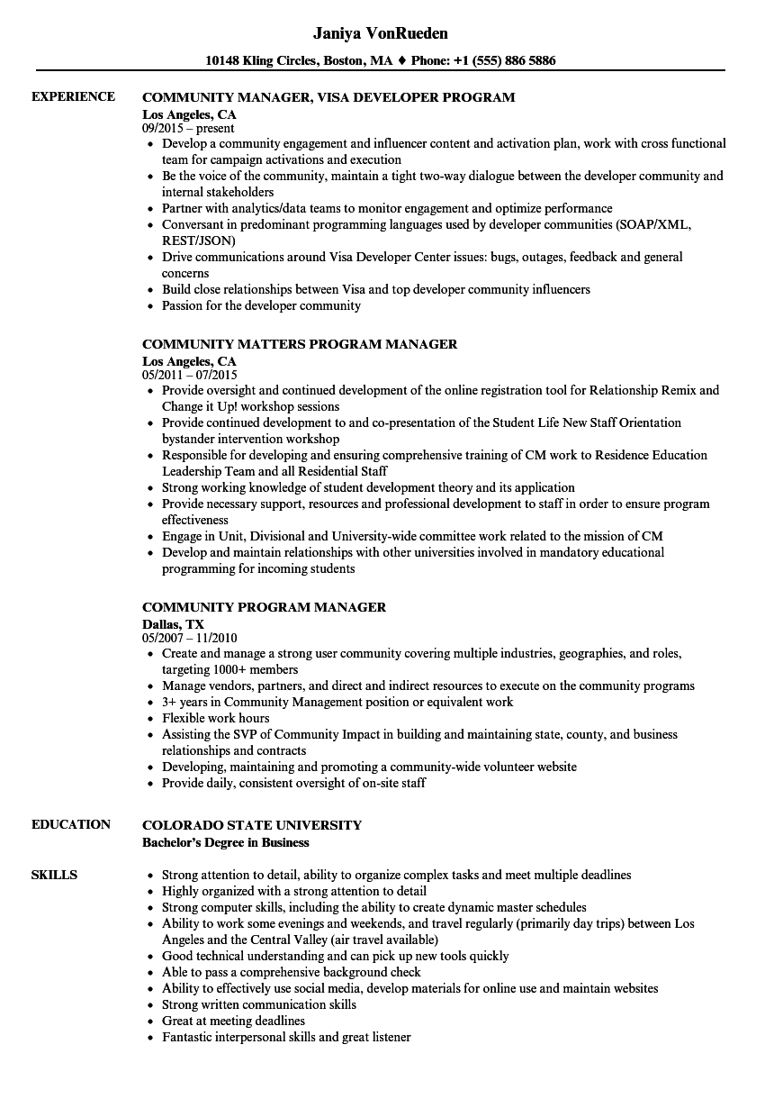 community program manager resume samples velvet jobs