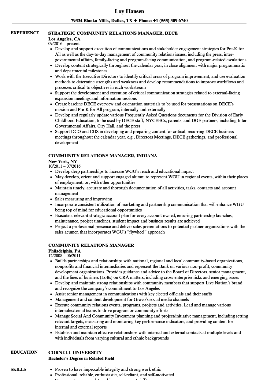 Community Relations Manager Resume Samples | Velvet Jobs