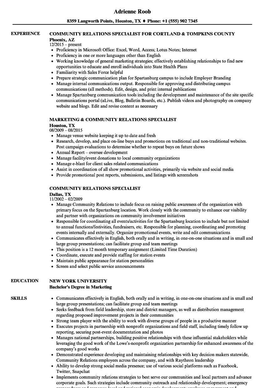 Community Relations Specialist Resume Samples | Velvet Jobs
