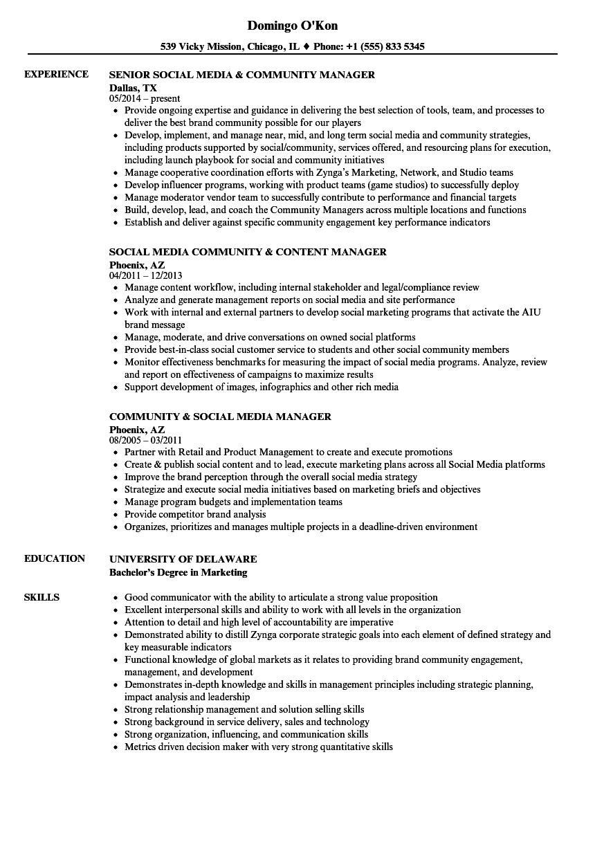 community  u0026 social media manager resume samples