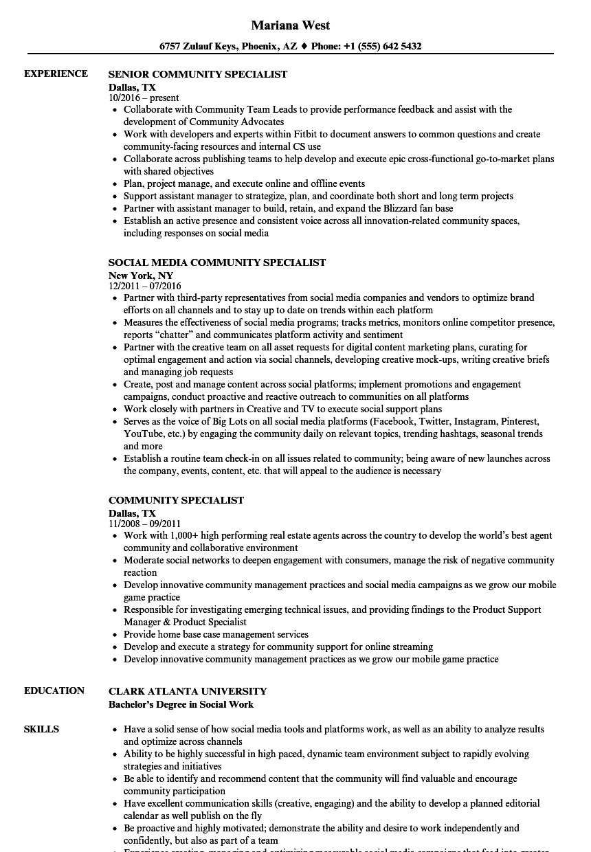 community specialist resume samples