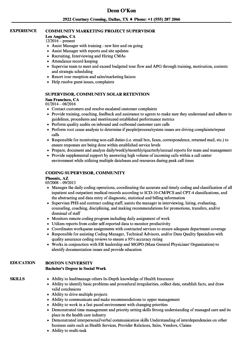 Community Supervisor Resume Samples Velvet Jobs