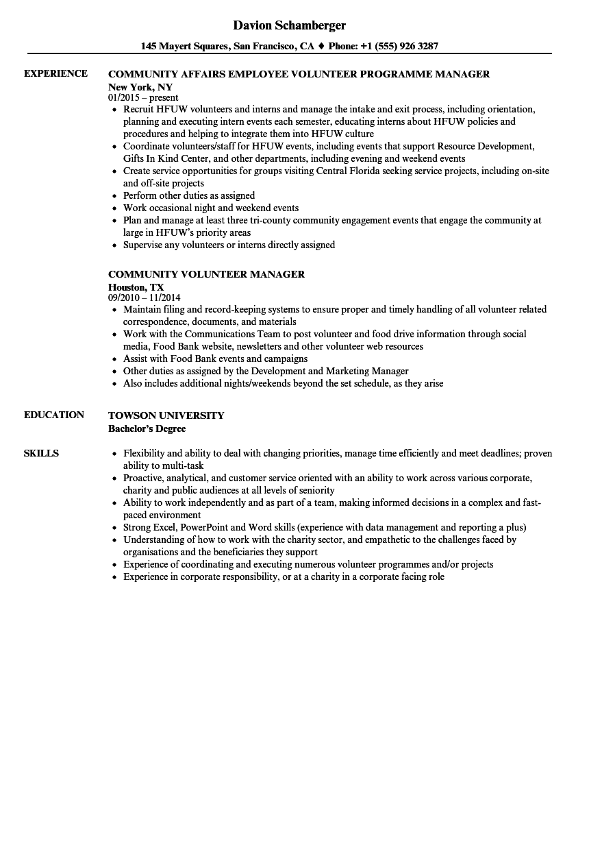 Community Volunteer Resume Samples | Velvet Jobs