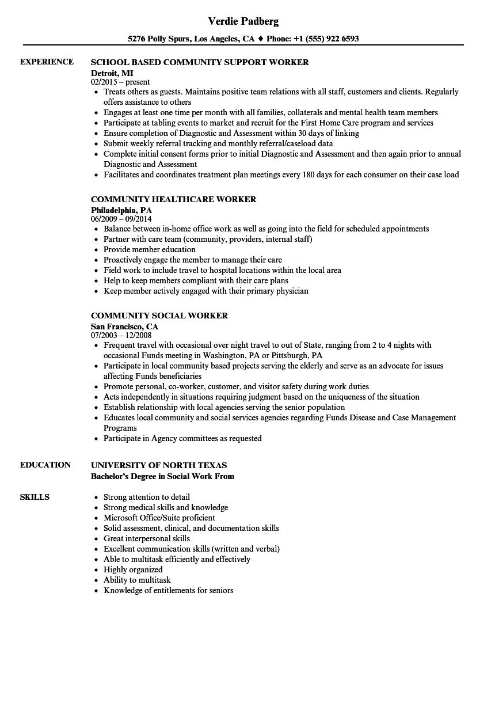 Community Worker Resume Samples Velvet Jobs