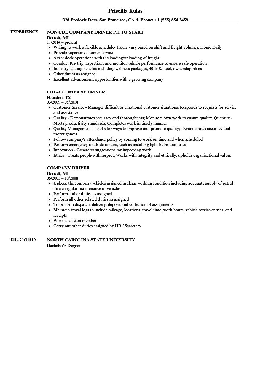 Company Driver Resume Samples Velvet Jobs