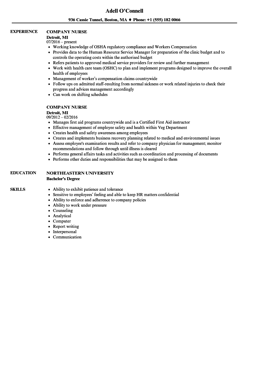 Company Nurse Resume Samples Velvet Jobs