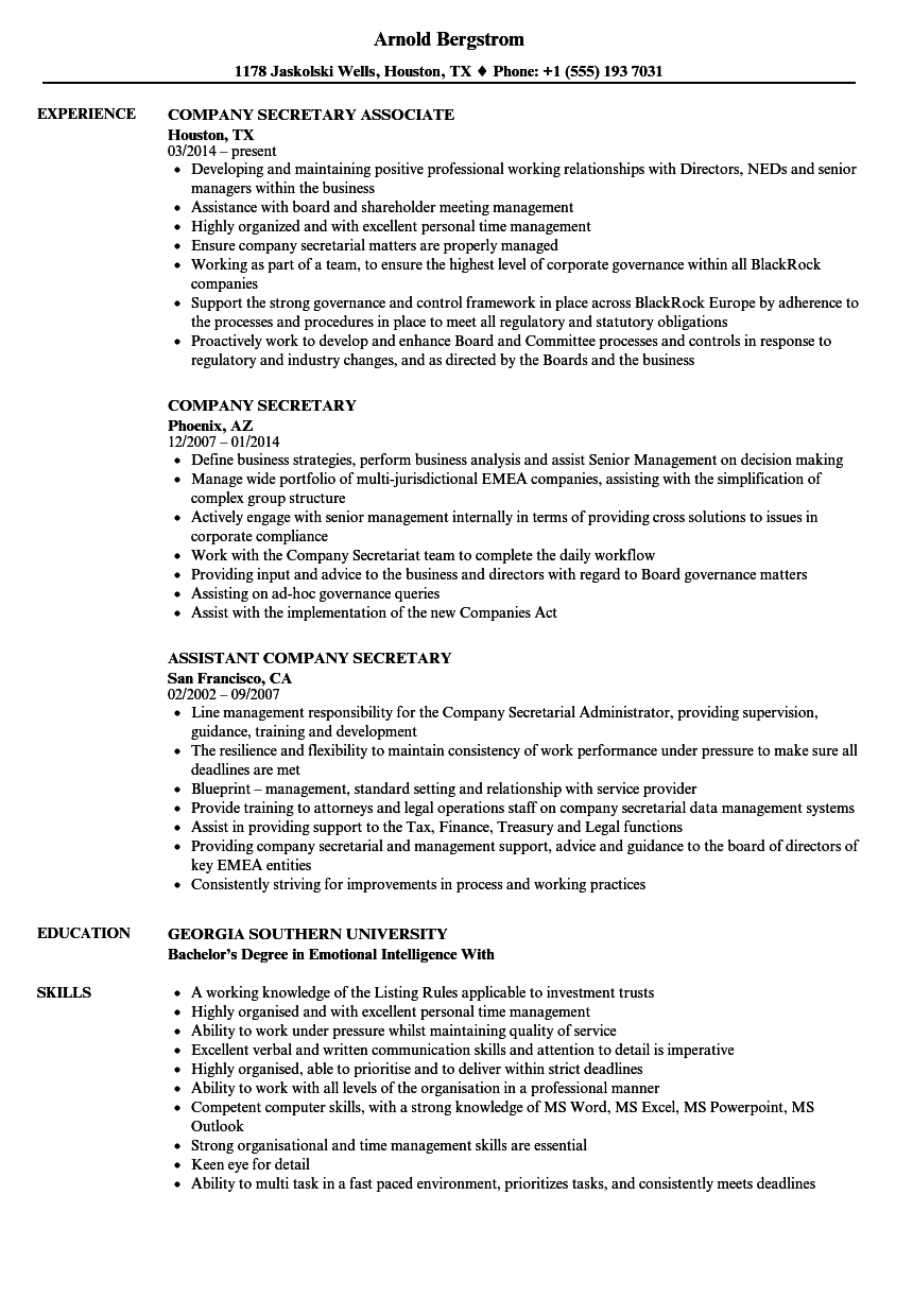 Company Secretary Resume Samples | Velvet Jobs