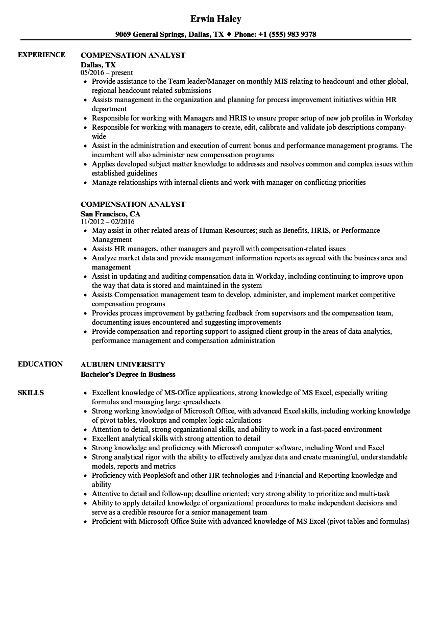 compensation analyst resume samples